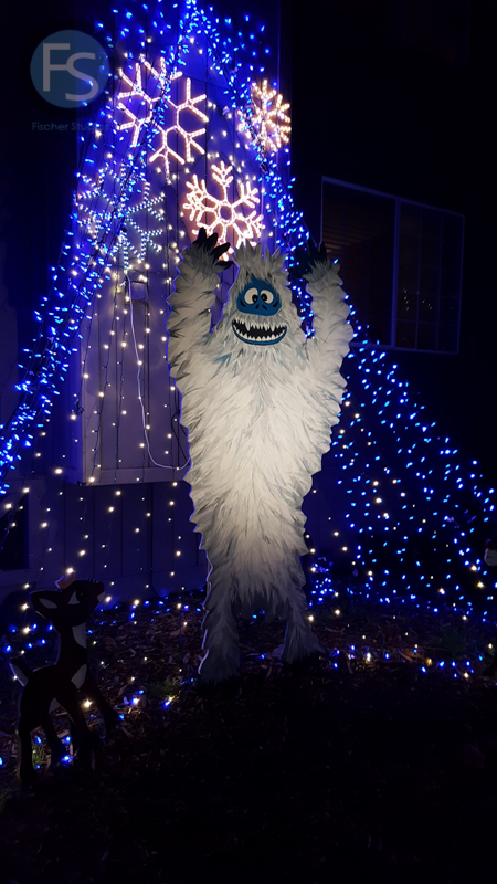 Christmas Lights - Cambria Pines Lodge abominable snowman 2015