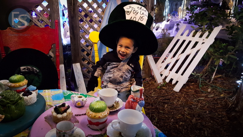 Christmas Lights - Cambria Pines Lodge - Eddie Dressed as Mad Hatter  2015