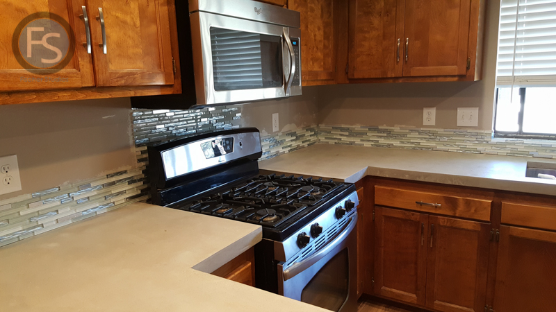 Finished Kitchen Concrete Counters