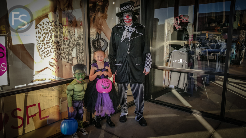 The kids and me dressed up for Halloween - Pismo Beach Outlets
